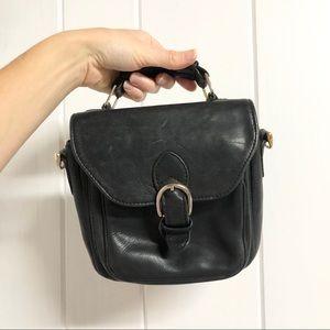 Black Leather Top Handle Bag